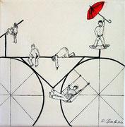 Fahrrad groß, Tusche, verkauft