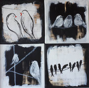 Vögel,  Mischtechnik, 4 Bilder 20x20cm im Holzrahmen
