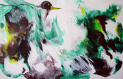 Vögel grün, Acryl, 36x24cm