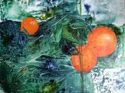 Orangen, Aquarell auf Leinwand, 80x60cm, verkauft