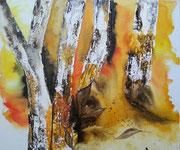 Herbstbäume, Aquarell auf Leinwand, 60x50cm