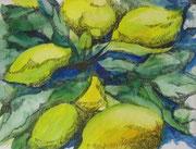 Zitronen, Tusche - Aquarell