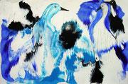 Vögel blau, Acryl, 36x24cm