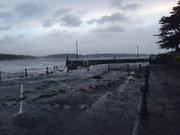 Le port avec algues, cailloux et autres débris.