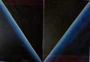 Diagonales opposées, en dyptique, combinaison X2, 2X4, 2X6, 2X8 acrylique sur toile, '116X89 chaque tableau).