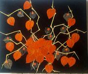 Physalis ou Japanese lanterns (acrylique sur toile- 39X47)