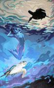 Wasserschildkröte, Acryl auf Vlies, 230 x 130 cm