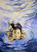 Schwimmen, Aquarell, 50 x 40 cm