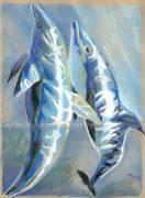 Delfine, Tempera, 30 x 23 cm