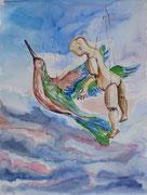 Flugversuch, Aquarell, 50 x 40 cm