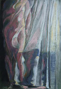 Vorhang 1, Pastell, 50 x 40 cm
