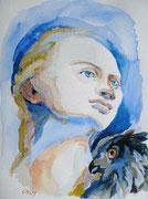 Minerva, Aquarell, 50 x 40 cm