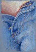 Jeans 2, Stift, Kreide, 30 x 20 cm