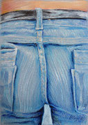 Jeans 4, Stift, Kreide, 30 x 20 cm