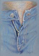 Jeans 1, Stift, Kreide, 30 x 20 cm