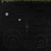 Silence et Turbulences sur Ardoise    100 cm x 100 cm