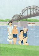 多摩川で水浴