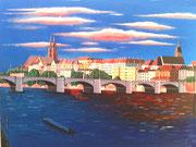 Die Mittlere Brücke in Basel um 5 Uhr morgens, 80x60 (Privatbesitz)