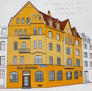 «Das Restaurant Erasmus«. Der Beitrag von Paul Bachmann zur BKG-Ausstellung anlässlich des Erasmus-Jahres im September 2016 in der Galerie Eulenspiegel in Basel, 25x25
