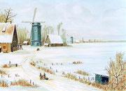 Norddeutsche Ebene im tiefen Winter, 40x30