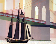 Segelschiff unter der Hudsonbridge in New York, 50x40