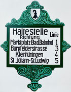 Bild Nr. 32: Haltestellentafel der Basler Strassenbahnen (BStB) anfangs des letzten Jahrhunderts, 80x100