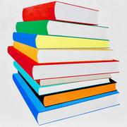 Bücherstapel, 80x80 (2019, Privatbesitz)