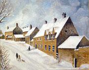 Dorf im Winter in Schottland, 40x50
