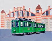 Bild Nr. 33: Der Trammotorwagen Nr.150 auf der Linie 24 vor dem Depot Wiesenplatz 1969, 80x100. Das war über ein halbes Jahrhundert lang der klassische Zweiwagenzug in Basel