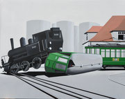 Bild Nr.22 Kollision zwischen Hafen-Dampflok und Tram der Linie 25 beim Hüninger Zoll am 13.Oktober 1958 in Basel, 100x70 (siehe Foto Nr.27 unter Fotogalerie Eisenbahn in und um Basel