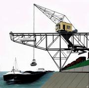 Bild Nr. 4: Die Rheinhäfen in Basel unter dem gemeinsamen Titel «Die Schönheit der Technik»,  80x80   (Der Kran der Rheinischen Kohlenumschlags AG im Klybeckhafen)