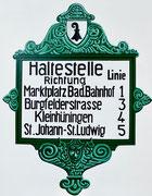 Bild Nr. 32: Haltestellentafel der Basler Strassenbahnen (BStB), 80x100