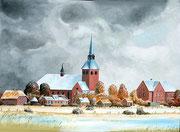 Hattstedter Kirche in Nordfriesland, 70x50