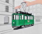 Bild Nr. 31: Der Trammotorwagen Nr. 135 auf der Linie 25 (Lysbüchel - Huningue F) an der Haltestelle Lysbüchel im Jahre 1961,  100x80 - auch als Ansichtskarte erhältlich unter www.tramoldtimer-basel.ch