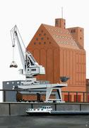 Bild Nr. 7: Die Rheinhäfen in Basel unter dem gemeinsamen Titel «Die Schönheit der Technik»,  70x100.  (Das Bernoullisilo und ein Kran der Schweizerischen Reederei im Hafenbecken 1)