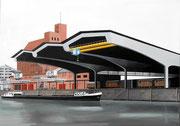 Bild Nr. 3: Die Rheinhäfen in Basel unter dem gemeinsamen Titel «Die Schönheit der Technik»,  100x70  (Die grosse Umschlagshalle und das Bernoullisilo der Schweizerischen Reederei)