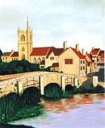 Brücke in einem englischen Dorf, 38x46