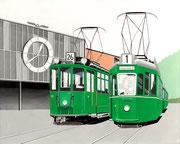 Bild Nr. 28: Zwei Trams  vor der Rundhofhalle an der Endhaltestelle Mustermesse in Basel 1969, 100x80 - auch als Ansichtskarte erhältlich unter  «www.tramoldtimer-basel.ch»