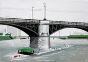 Bild Nr.20: Havarie des «TS Padella» 20.Oktober 1960 an der Johanniterbrücke in Basel, 100x70