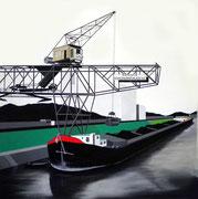 Bild Nr. 1: Die Rheinhäfen in Basel unter dem gemeinsamen Titel «Die Schönheit der Technik»,  80x80  (Der Kran der Rheinischen Kohlenumschlags AG im Hafenbecken 1)
