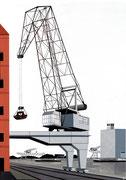 Bild Nr. 10: Die Rheinhäfen in Basel unter dem gemeinsamen Titel «Die Schönheit der Technik»,  70x100  (Der grosse Kran der Neptun AG im Hafenbecken 1)