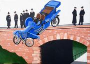 Bild Nr.35: «Blau unterweg» - 1899 erfolgte in New York der erste Autounfall mit Todesfolge. 50x70, 2019
