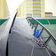 Bild Nr.18: Einsturz der Wiesenbrücke während des Abbruchs 1960, 80x80 (siehe Foto Nr.19 unter Fotogalerie «Brücken in Basel»)