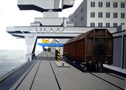 Bild Nr. 14: Die Rheinhäfen in Basel unter dem gemeinsamen Titel «Die Schönheit der Technik»,  70x50.  (Blick unter die Krananlagen im Hafenbecken 1)