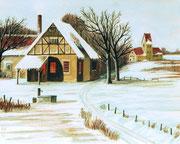 Norddeutsche Heidelandschaft im Winter, 30x24