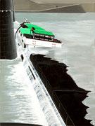 Bild Nr. 16: Havarie der «MS Birsigtal» an der Mittleren Brücke in Basel am 4.Juli 1958,  60x80