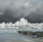 Sturm an der Küste in der Normandie, 70x70 (2015)
