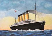 Die Titanic auf Fahrt 1, Aquarell, 20x29, 2021