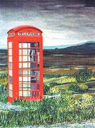 (funktionierende) Telefonkabine im Highland in Schottland, 30x40