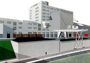 Bild Nr. 5: Die Rheinhäfen in Basel unter dem gemeinsamen Titel «Die Schönheit der Technik»,  100x70.  (Die Hafenanlage und der Kran der SILAG im Hafen St.Johann)